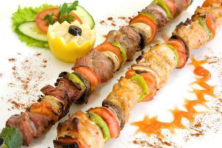shish kebab: Close up of shish kebab. Stock Photo