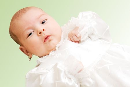 New born baby girl dressed for christening. Stock Photo - 4321084