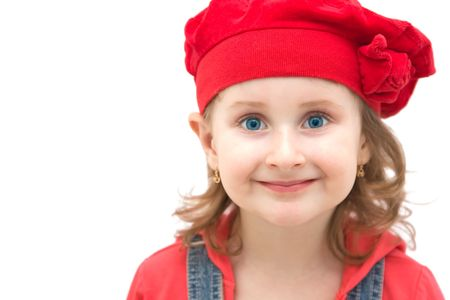Little girl with a cute red hat Stock Photo - 4494220