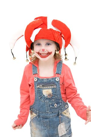 Little girl dressed as a happy buffoon. Stock Photo - 4494260