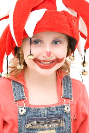 Little girl dressed as a happy buffoon. Stock Photo - 4494263