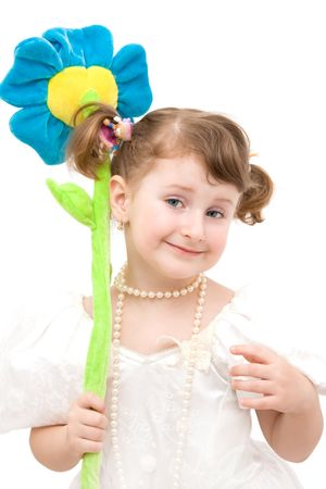 Little girl with toy flower. Stock Photo - 4494202