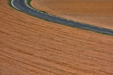 ploughed: Ploughed land in France. Stock Photo