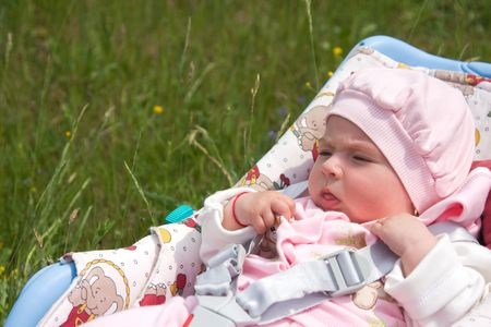 Cute baby girl enjoying a day in nature Stock Photo - 4888462