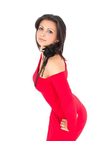 Hispanic woman dressed in a red dress. photo