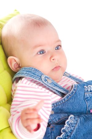 Cute baby girl dressed in jeans photo