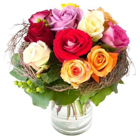 glass vase: Beautiful bouquet of roses in a vase Stock Photo