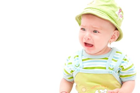Beautiful baby girl crying out loud photo