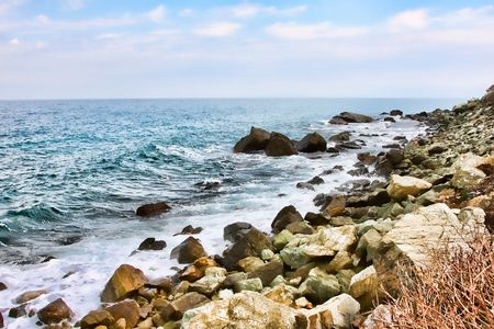 The shore in Kokkino Nero town in Greece photo