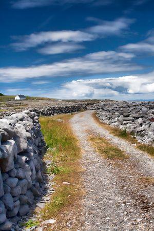 inisheer: Traditional stone road on Inisheer Island in Ireland