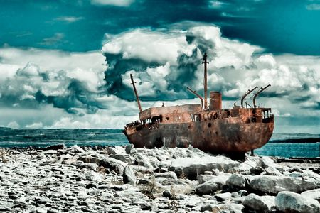 The Plassey wreck on the Inisheer Island in Ireland