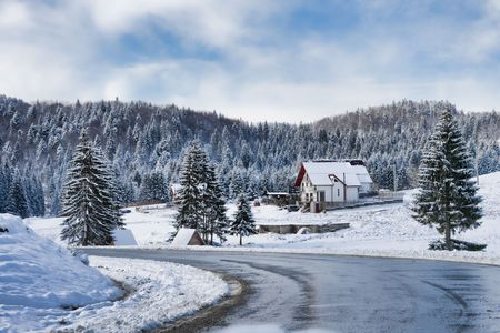 Winter landscape in Poiana Brasov resort, Romania photo