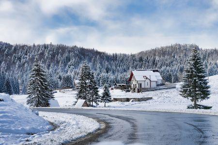 Winter landscape in Poiana Brasov resort, Romania