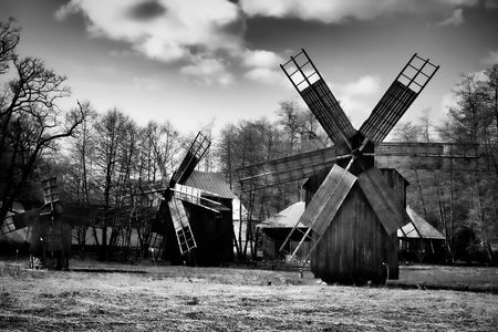 astra: Windmills at the ASTRA museum in Sibiu, Romania. Stock Photo