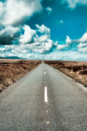 bogs: Landscape of a road crossing through the bogs in Ireland Stock Photo