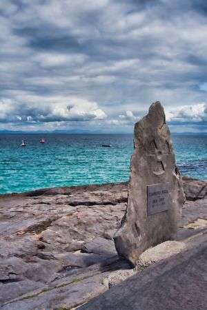 Monument overlooking the ocean at Inisheer Island in Ireland Stock Photo