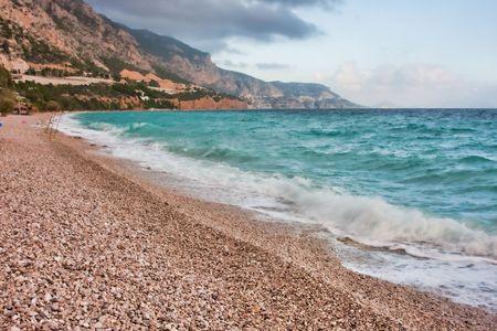 Landscape of a Mediterranean Sea beach in Greece photo