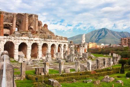 roman amphitheater: Santa Maria Capua Vetere Amphitheater in Capua city, Italy in december 2009.