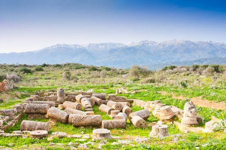 House with peristyle yard, period of Roman domination at Ancient Aptera in Crete, Greece Stock Photo - 6934047
