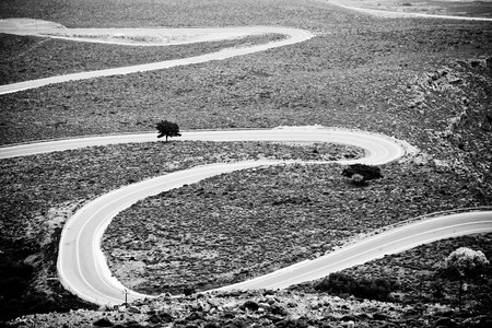 Windy road to Khora Sfakion in Crete, Greece photo