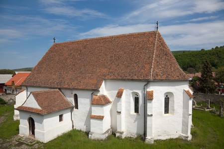 fortified: Fortified church of Ghelinta in Covasna county, Romania.