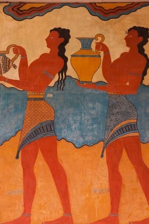 ���archeological site���: Replica of Fresco at Knossos Archeological Site in Crete, Greece