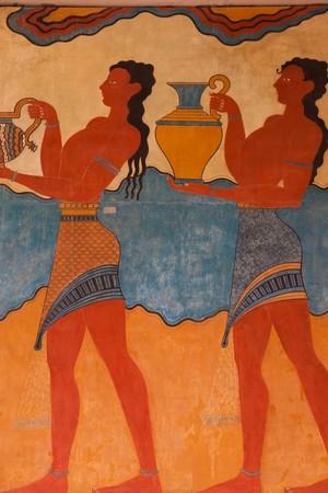 Replikat des Fresco am Knossos archäologische Site in Kreta, Griechenland Lizenzfreie Bilder