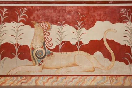 Throne Room at Knossos Archeological Site in Crete, Greece Stock Photo