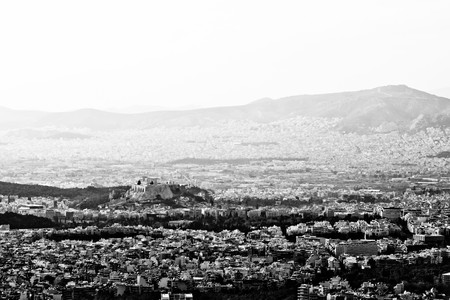 Panoramic view of Athens seen from Ymithos Mountain, Greece photo
