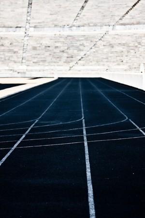 Running track at Panathinaikon  Olympic Stadium in Athens, Greece photo