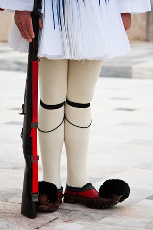evzones guard: Evzones standing guard in front of the Parliament in Athens. Stock Photo
