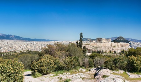 Panoramic view of Athens and Acropolis during spring in Greece. photo