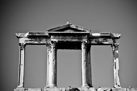 Black and white image of the Arch of Hadrian in Athens, Greece photo