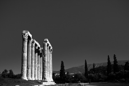 Details of Temple of Zeus in Athens, Greece photo