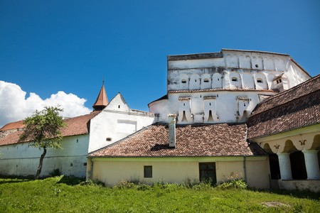 brasov: Details of Prejmer Fortified Church in Brasov County, Romania, June 2010 Stock Photo