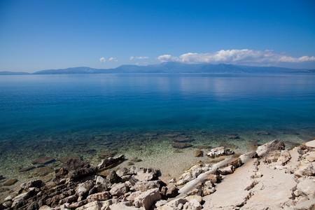 Coast of Greek near Lefkada Island in summer. photo