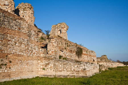 ��archeological site�: Details of the walls at Nicopolis Archeological Site in Greece