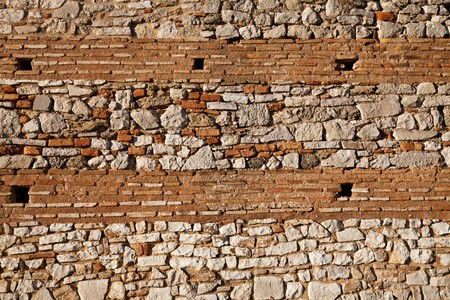 ���archeological site���: Details of the walls at Nicopolis Archeological Site in Greece
