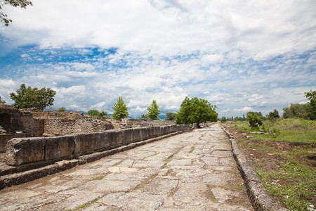 ��archeological site�: Details of Dion Archeological Site in spring, Greece.