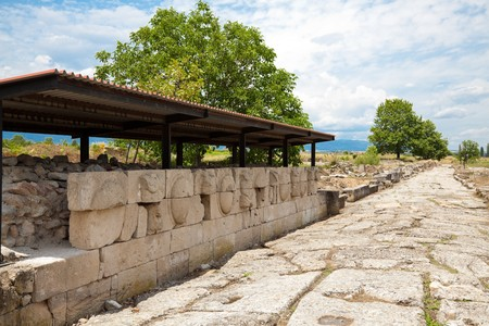 ���archeological site���: Details of Dion Archeological Site in spring, Greece.