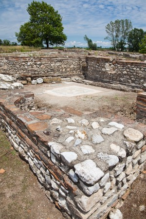 ��archeological site�: Polygonal Building at Dion Archeological Site in Greece Stock Photo