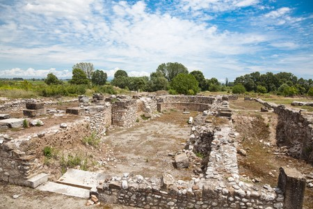 ��archeological site�: Ruins of the Episcopal Basilica at Dion Archeological Site in Greece