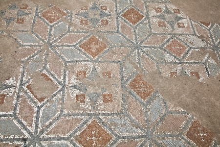 archeological site: Mosaics at The Great Baths at Dion Archeological Site in Greece. Stock Photo