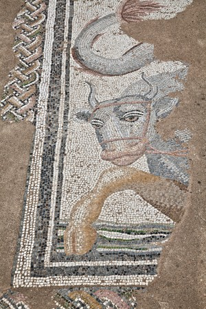 ���archeological site���: Mosaics at The Great Baths at Dion Archeological Site in Greece. Stock Photo