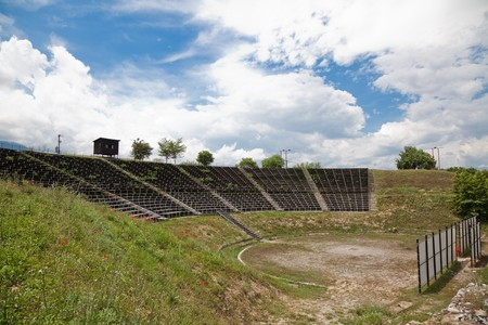 ���archeological site���: The Hellenistic Theater at Dion Archeological Site in Greece. Stock Photo