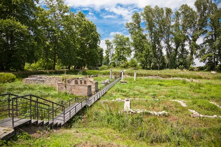 ���archeological site���: Sanctuary of Isis at Dion Archeological Site in Greece.