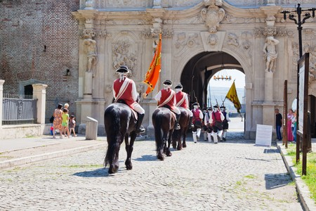 July 2010 - The guard change at noon at Alba Iulia Fortress in Romania Stock Photo - 7374374