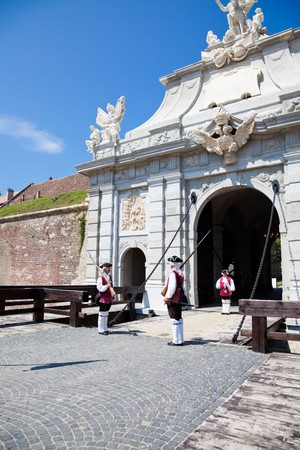 July 2010 - The guard change at noon at Alba Iulia Fortress in Romania Stock Photo - 7374383