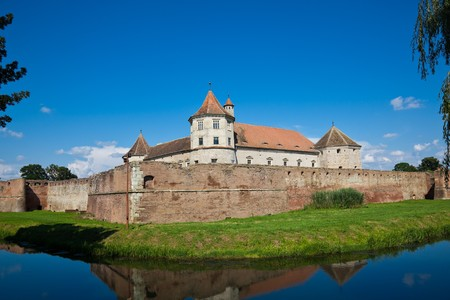 brasov: The Fagaras Fortress in Brasov County, Romania in summer. Stock Photo