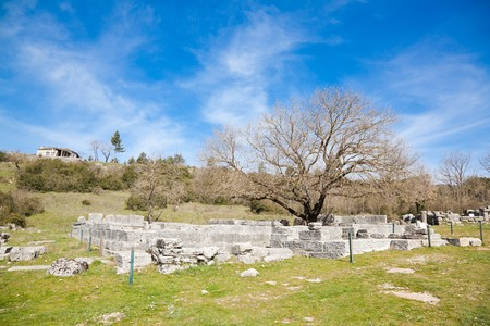 archeological site: Spring landscape at Dodoni Archeological Site in Greece.